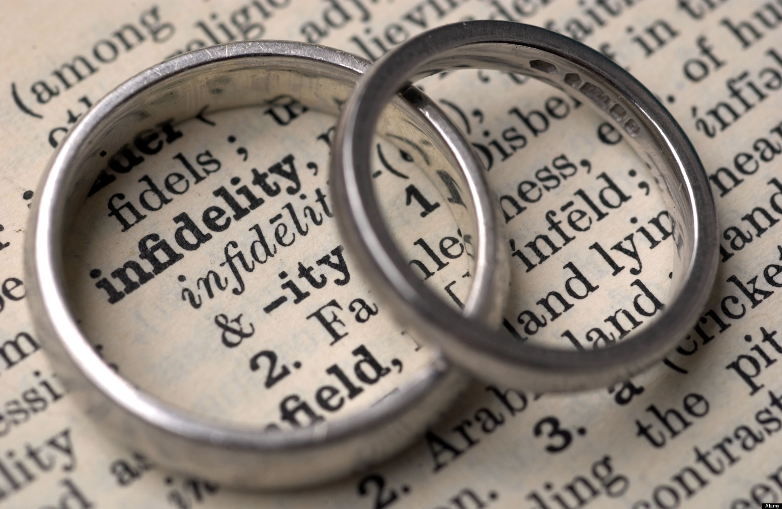 A3G275 Wedding rings on a dictionary showing the word infidelity